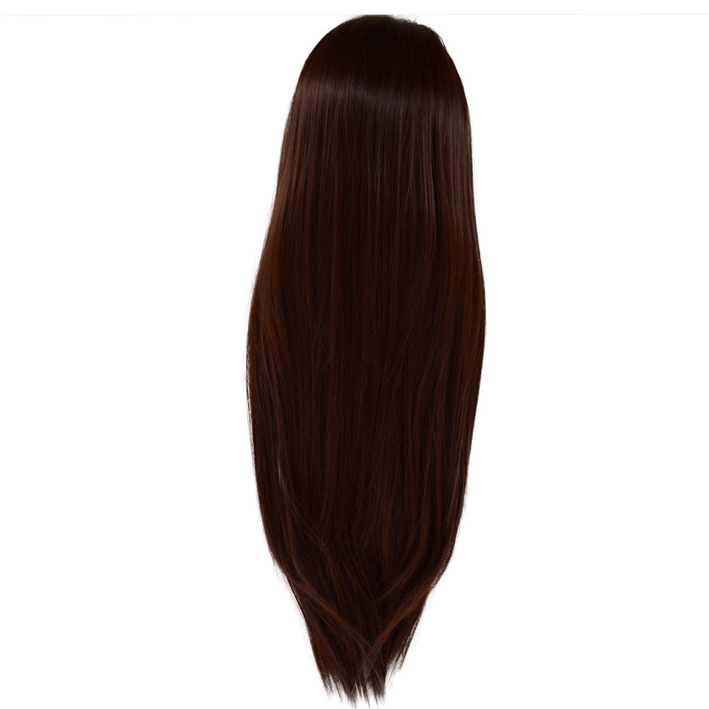 Buy Ladies 34 Long Straight Fall Half Wig Clip In Hair Piece Dark