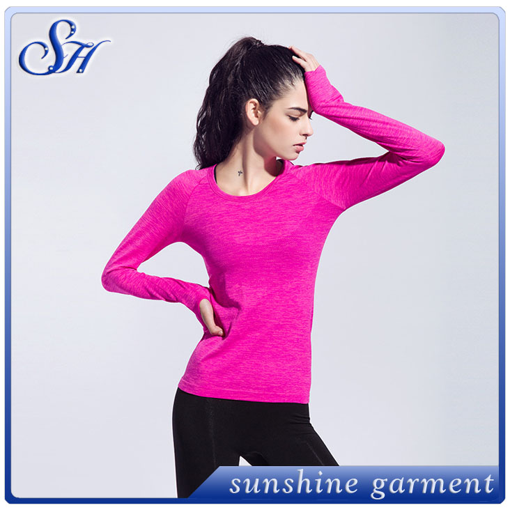 2017 Sportswear running yoga ladies t-shirt tight cheap women tees blue gym slim fit yoga women t-shirt