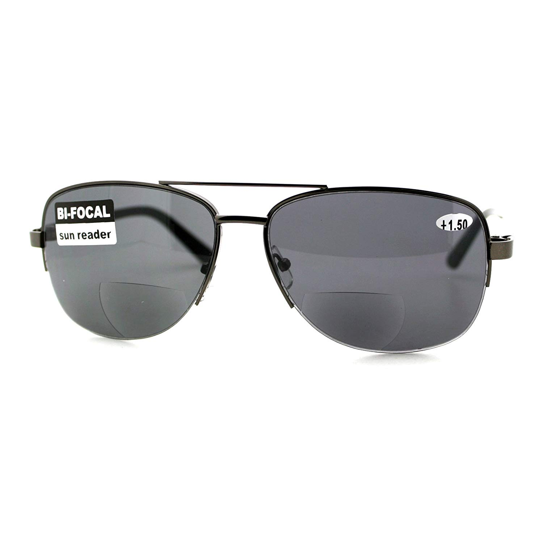 0338d7aa7dc Get Quotations · Bifocal Magnification Lens Sunglasses Mens Half Rim  Aviator Sun Reader