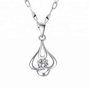 925 Sterling silver Cubic Zirconia CZ Flower pendant Platinum Plated
