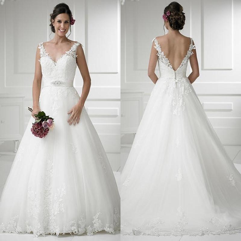 One Strap Wedding Gowns: 2016 Modest Princess A Line Wedding Dresses Lace Straps