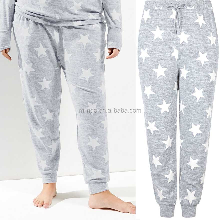 Goedkope Plus Size Dameskleding All Over Star Print Joggers Hip Hop Dance Baggy Joggingbroek