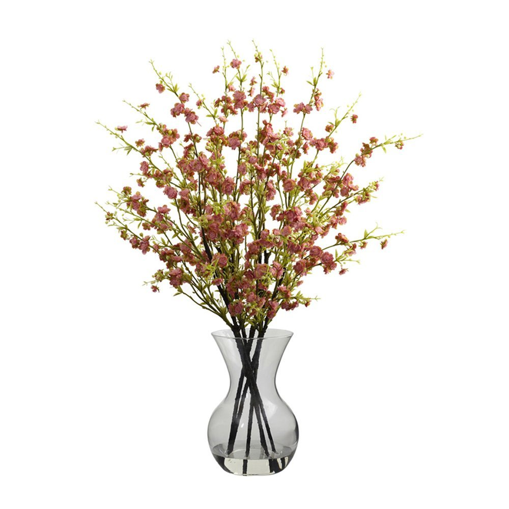 Nearly Natural Home Indoor Decorative Tabletop Fancy Cherry Blossoms With Vase Arrangement Pink
