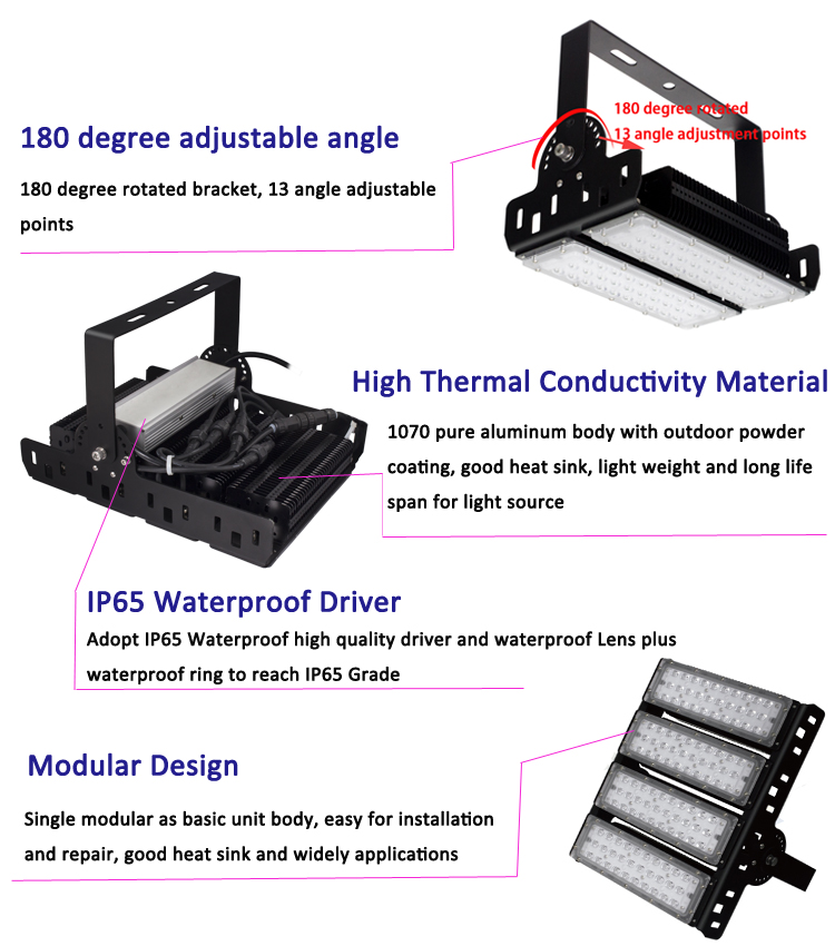 IP66 Waterproof 60W 100W 120W 150W 200W 250W 300W 400W led flood lights With 5 years warranty