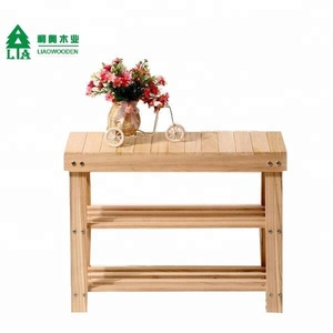 2018 top popular antique wooden stool handmade shoes changing stool with wicker drawer