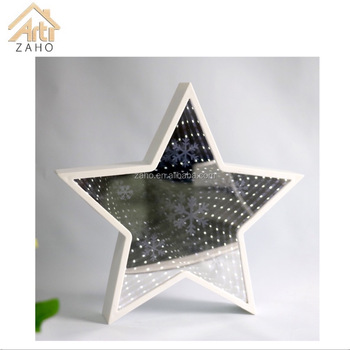 Hot Sales All Occasion Display Star Shape Home Decor Indoor Battery Powered  Plastic Frame Mirror LED