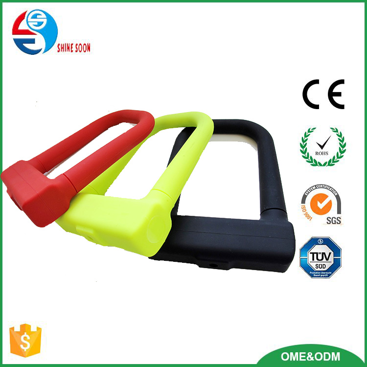 Durable bicycle lock, Anti theft leve 5 bicycle U lock, Silicon overmoulded U shape lock bicycle bike cycling lock