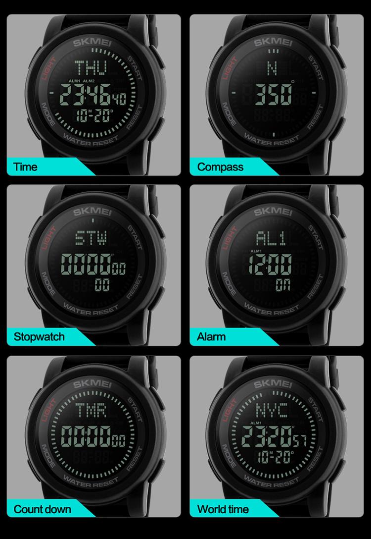 SKMEI 1289 Men's Fashion Relogio Masculino Sport Watches Chrono Countdown  Men Waterproof Digital Watch Man military