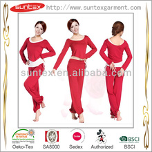 Chinese skilled lady sportswear yoga wear red white 3 pcs suitsets manufacture