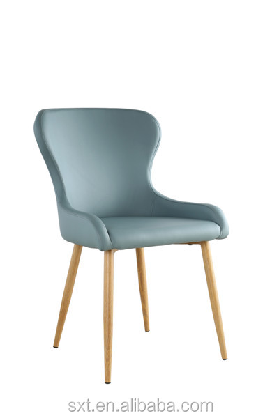 Modern new design indoor furniture 100% PU leather and metal legs dining <strong>chairs</strong>