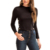 Custom Women New Trendy Button Side Black Long Sleeve Ribbed Crop Top