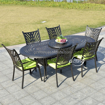 Cast Aluminum One Table 6 Chairs Dining Set Outdoor Furniture Patio Dining  Garden Furniture