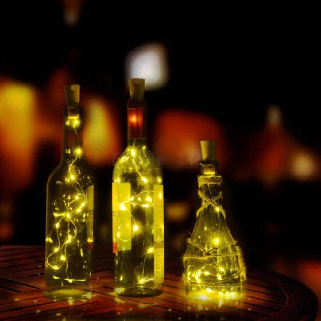 Yezijin Solar Wine Bottle Cork Shaped String Light 10 LED Night Fairy Light Lamp (Yellow)