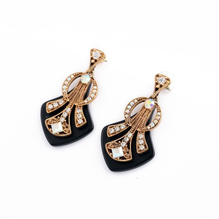 J Brand Crew Designs Inspired Art Deco Lulu Crystals Honey Bee Opal Resin Stone Black Charm Earrings E1692