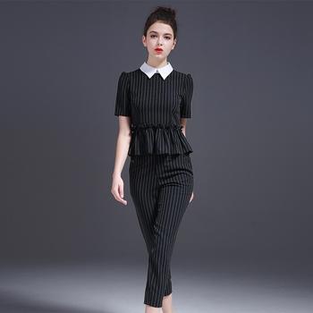 2017 Spring Apparel Woman Waist Tight Office Ladies Dress Stripe