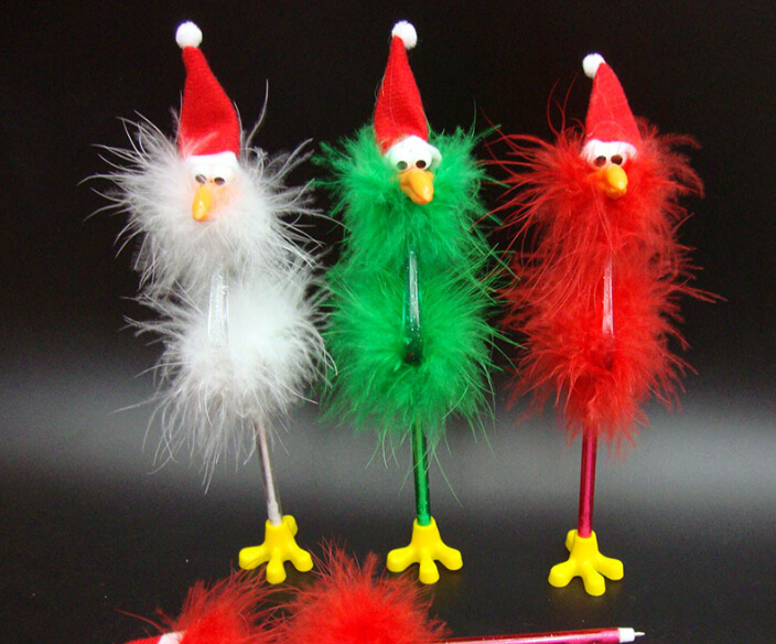 Christmas ostrich shape pen, enviromental ostrich feather gift pen, feather plus PS