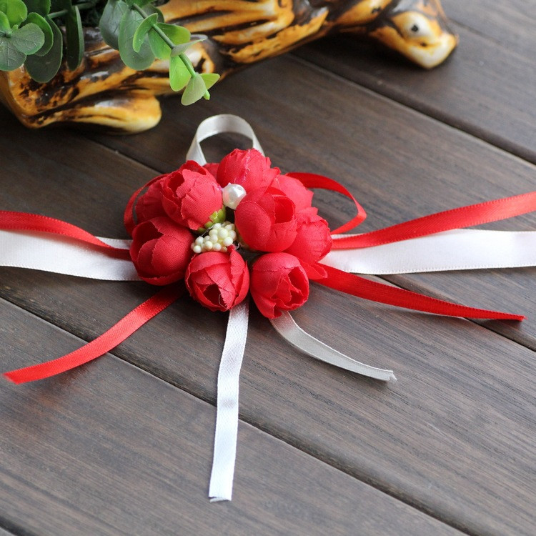 Wedding bridesmaid's artificial wrist wreath flower corsage