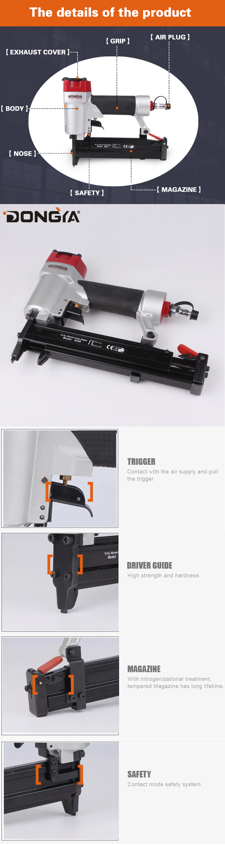 18Ga. Yueqing Upholstery Air Stapler Pneumatic Stapler for wood