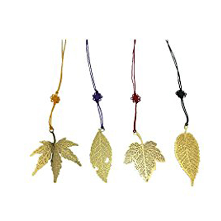 Vintage Golden Metal Leaf Maple Leaves Bookmark with Color Knotting Strap