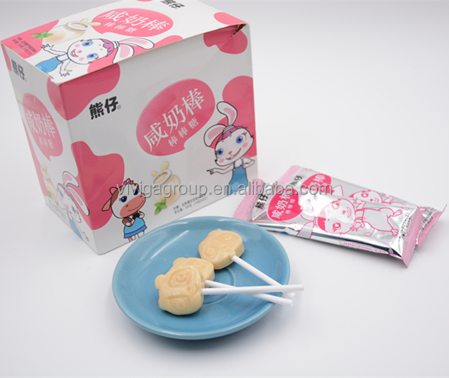Milk lollipop small stick lollipop with salty and milk flavor