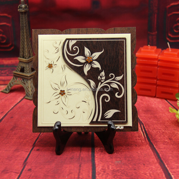 square Wooden Laser Cut wedding card with Acrylic stone