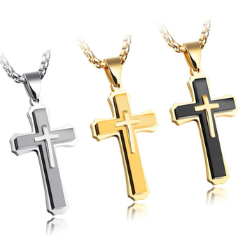 High Polished IP Gold Plating Three Layer Stainless Steel Big Cross Pendant Necklace