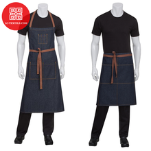 2019 aangepaste urban stijlvolle bib taille uniform restaurant bar ober chef denim <span class=keywords><strong>schort</strong></span>
