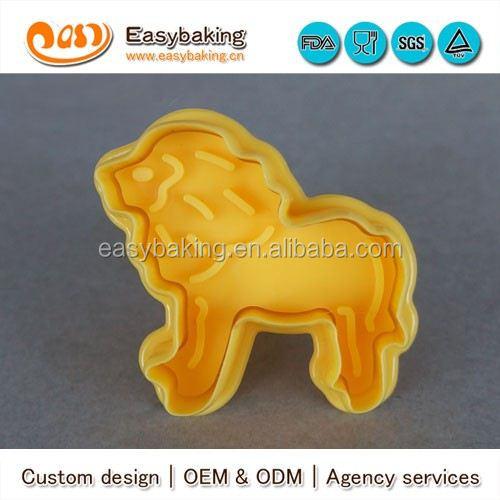 Factory Wholesale Animal Shape Lion Giraffe Elephant Zebra 3d Cookie Cutter Cookie Stamp