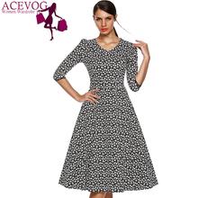 ACEVOG Marca Vestido Outono Inverno 2015 3/4 de Luva Das Mulheres Da Moda Elegante Do Vintage Estilo Rockabilly Balanço Floral Vestidos de Festa 1950 s