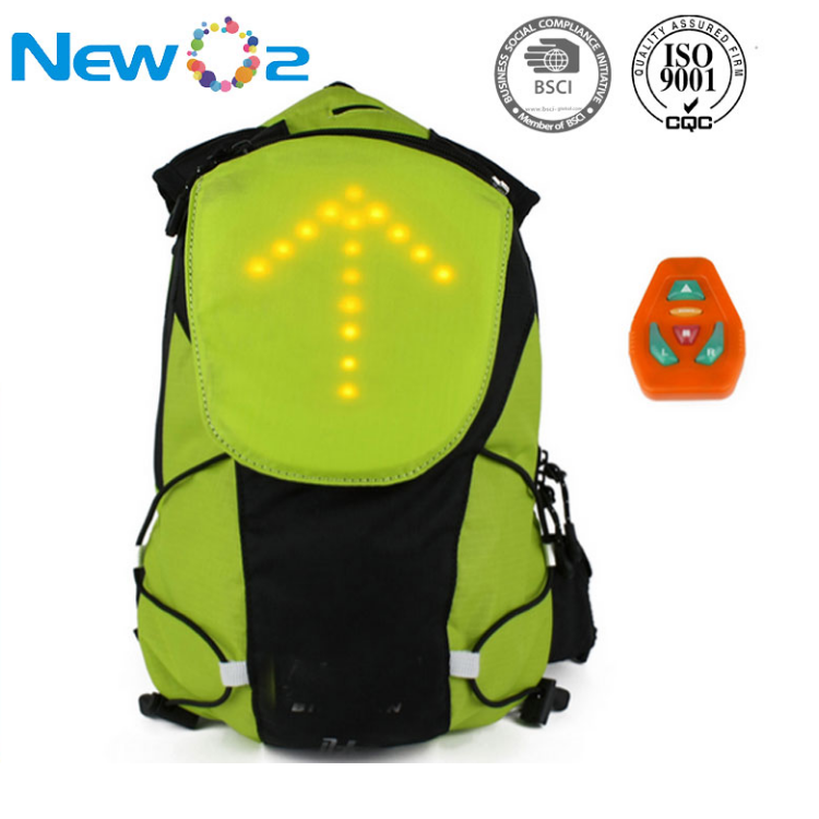 Factory direct sale LED turn signal light bike cycling backpack for outdoor night sports