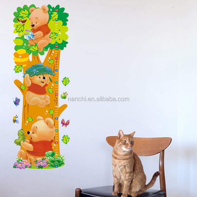 Cartoon animal children's height wall stickers for kids rooms decor vinyl wall stickers