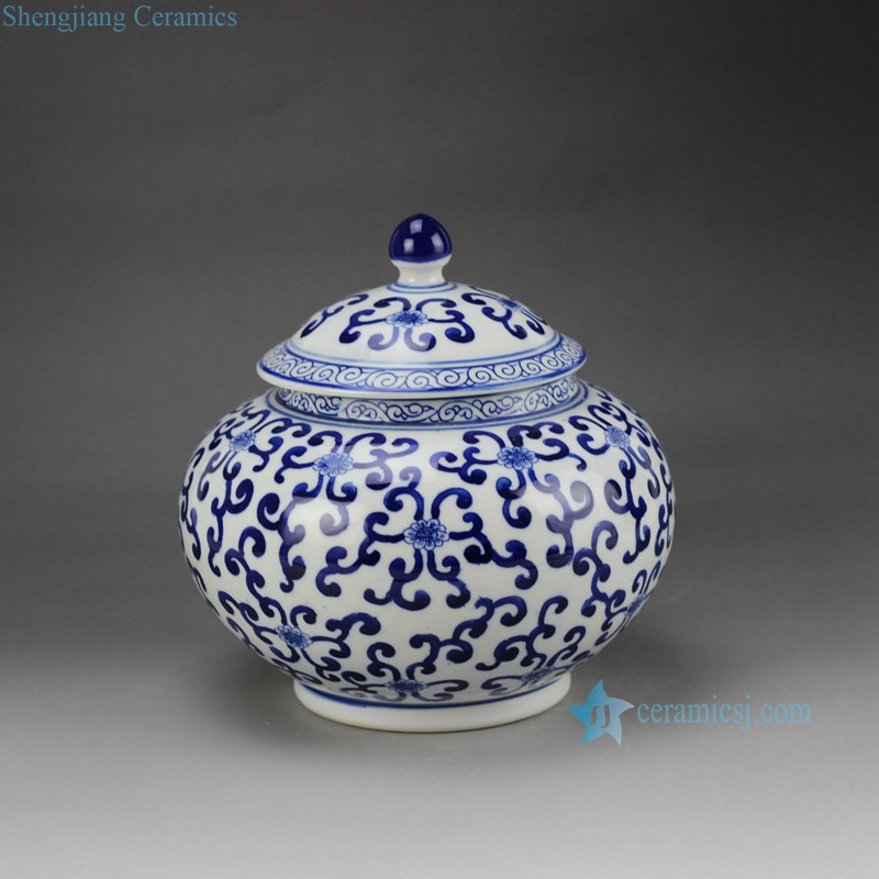 Rzbg08 B Hand Paint Elegant Round Belly Blue And White Chinese Porcelain Jar With Lid Ceramic