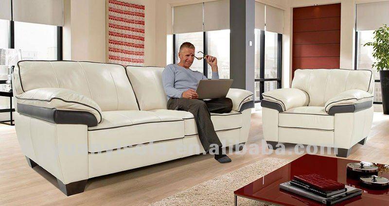 Luxe salon meubles canapé, Blanc et noir canapé en cuir-Canapé ...