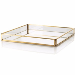 Medium Gold Glass Mirrored Plated Tray