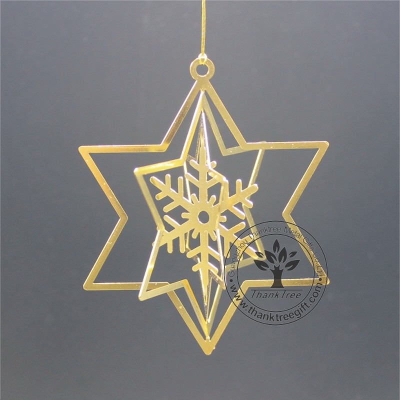 metal craft 3d metal Christmas ornament with snowflake cut out