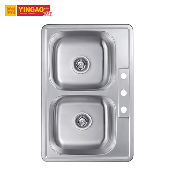 Modern Style 304 Stainless Steel Double Bowl Square Kitchen Undermount Sink
