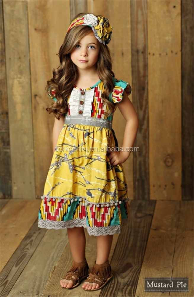Conice nini brand mustard pie latest design boutique flutter sleeve baby girl birthday dresses