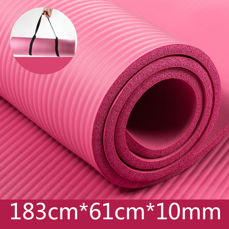 High quality 1/2 inch custom thick NBR washable yoga mat India with Portable Strap