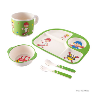 2018 New Design Dinner Set Bamboo Fiber Gift Baby Feeding Gift