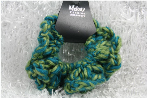 Godbead Yarn scrunchie ponytail holder bright GREEN AQUA colorful soft ouch less crafty