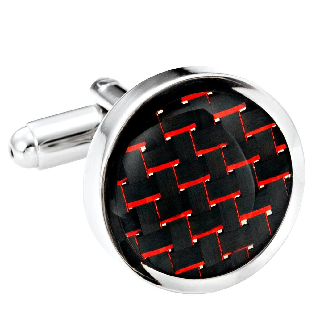 Titanium Men's Cufflinks Black and Red Carbon Fiber Round Polished