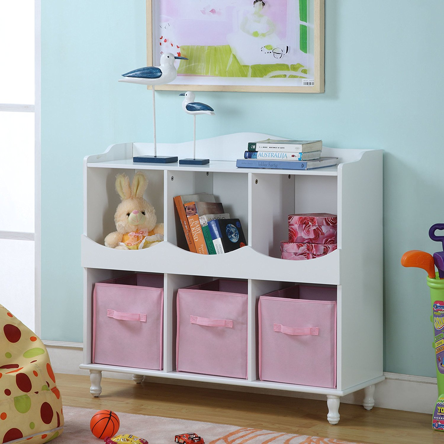 Get Quotations · Cubby Toy Storage, Six Open Cubes With 3 Pink Woven Fabric  Bins