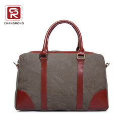 Vintage Canvas duffle bags With Leather handle trim for women