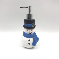 Christmas Style Cute Snowman Shaped Polyresin Soap Dispenser with Hat and Scarf