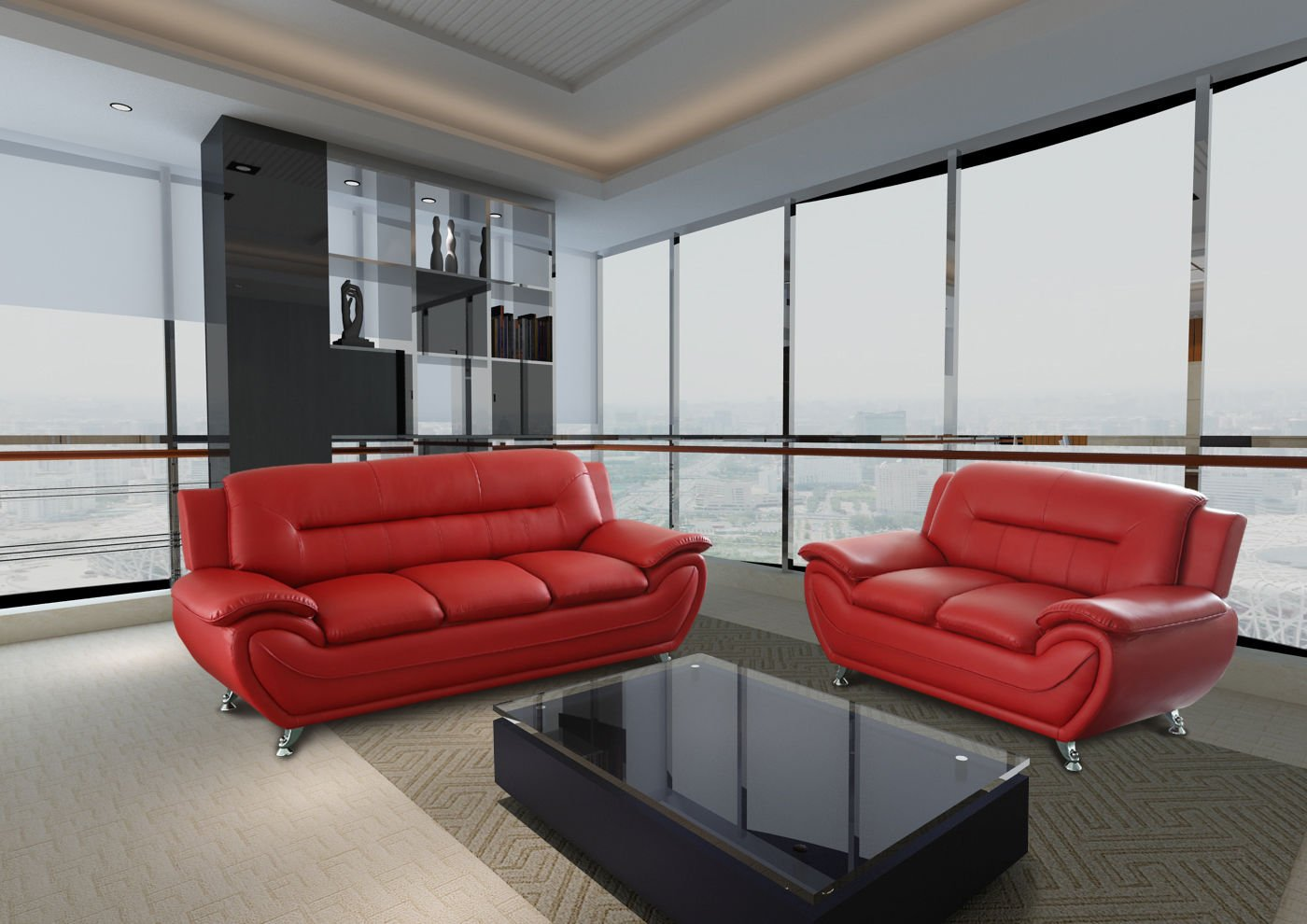 Gtu furniture contemporary bonded leather sofa loveseat set 2 piece sofa set red