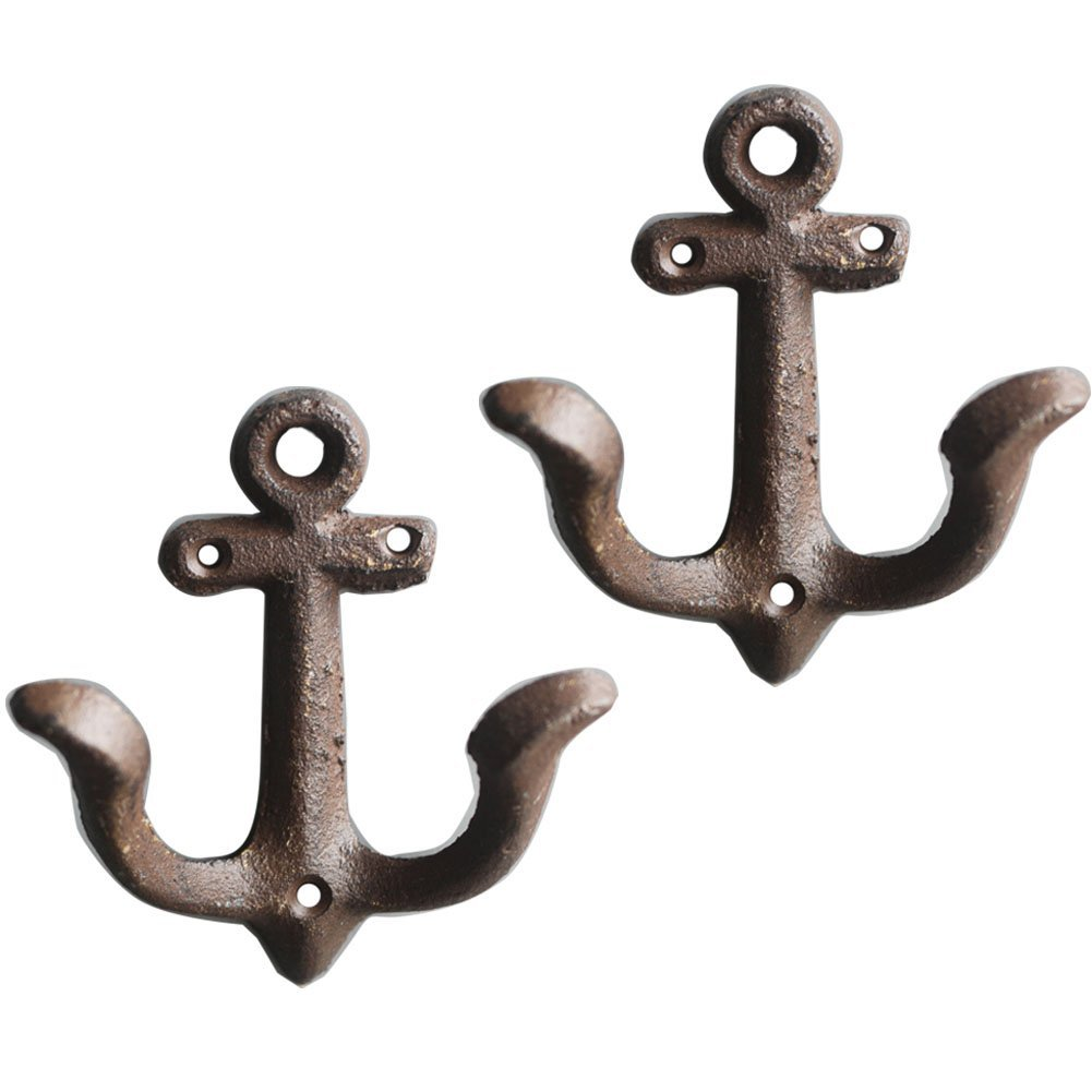 KiaoTime Set of 2 Vintage Rustic Cast Iron Nautical Anchor Design Wall Hooks Coat Hooks Rack, Decorative Wall Mounted Antique Shabby Chic Metal Home Bath Room Towel Coat Hooks Hanger (Rusty Brown)