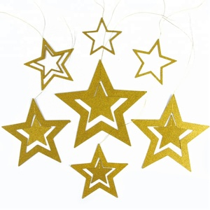 Wholesale Happy New Year Hanging Decorative Star Glitter Star Die Cut Paper Stars
