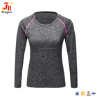 Polyester Spandex Long Sleeve Blank Workout T Shirt Custom Women Fitness Sports Tops