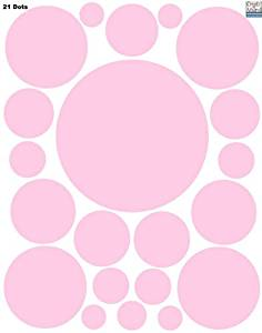 Create-A-Mural Polka Dot Wall Stickers, Wall Decor Stickers, Wall Dots, Vinyl Circle Room Dot Decals (Soft Pink)