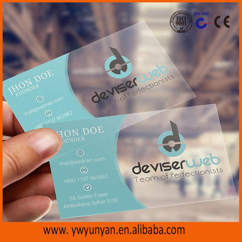 2015 Full Color Plastic Transparent Pvc Business Card/pvc Card/pvc ...
